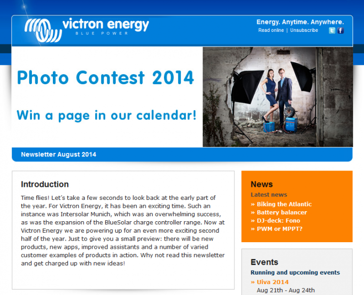 Victron Energy Newsletter