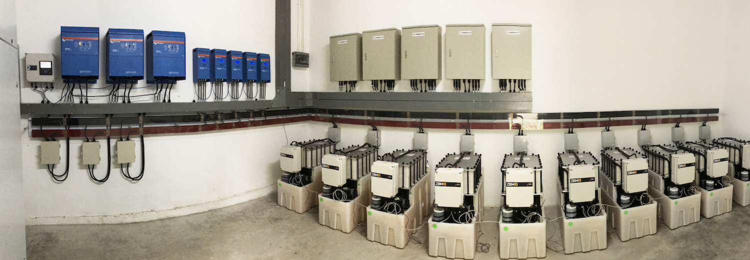 Flow batteries and Victron equipment.