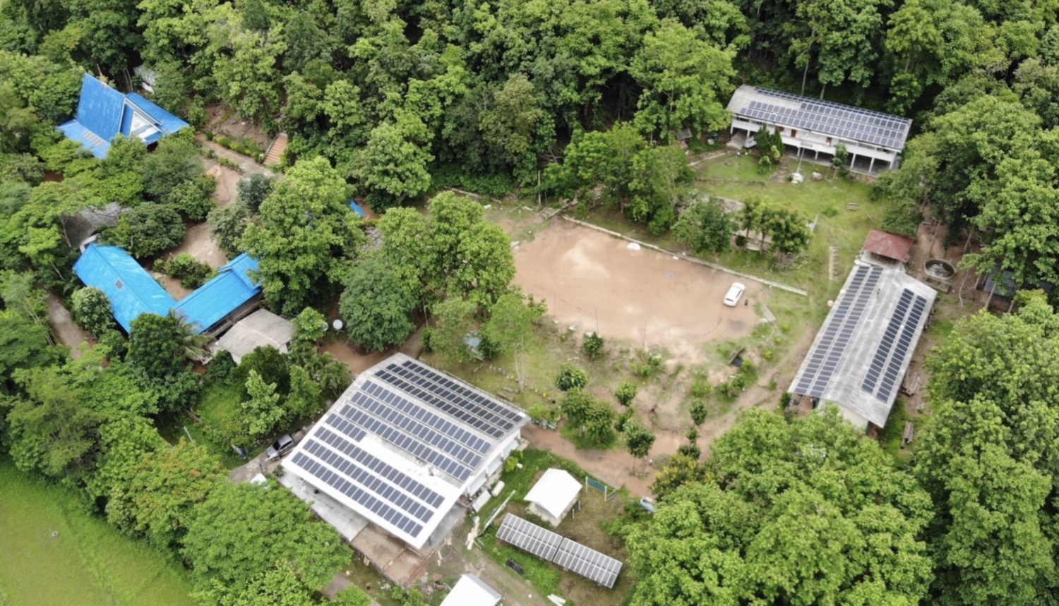 Aerial view of the Ban Pha Dan solar installation