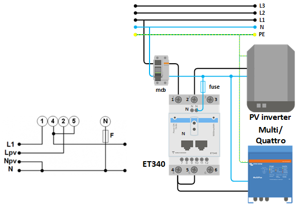 energy meter et340 manual victron energy rh victronenergy com 1 phase energy meter circuit diagram single phase energy meter connection diagram