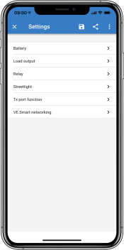 VictronConnect - MPPT settings