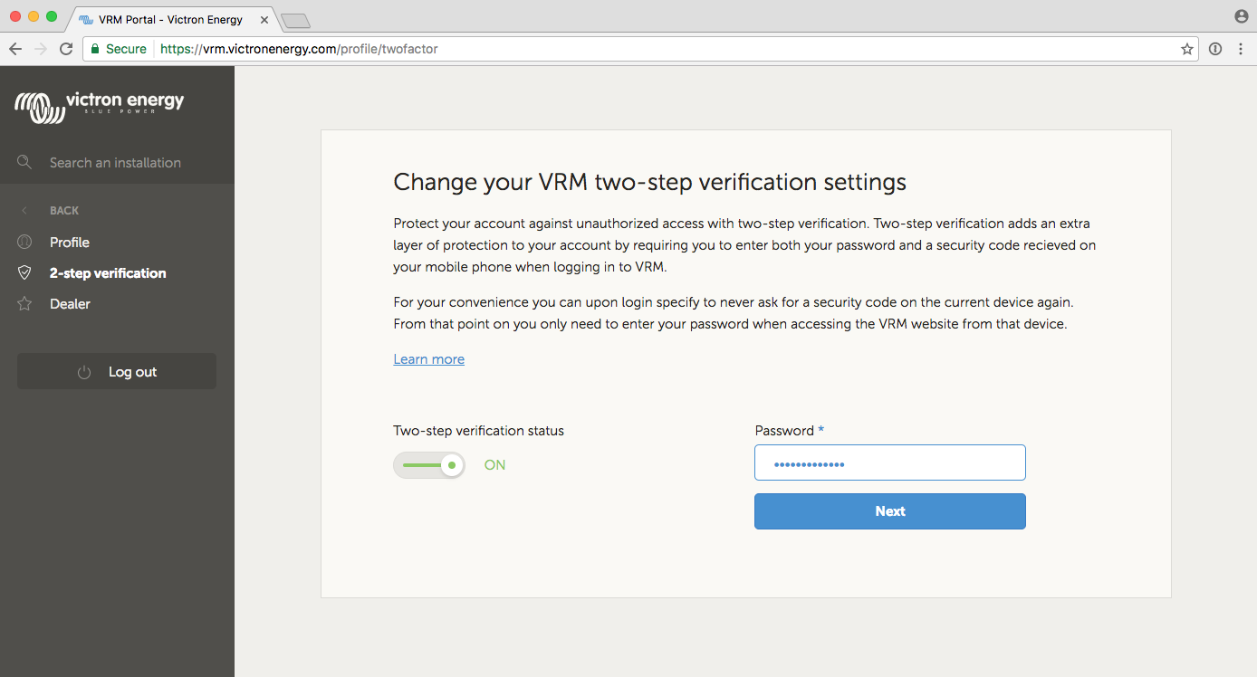 Two-step verification [Victron Energy]