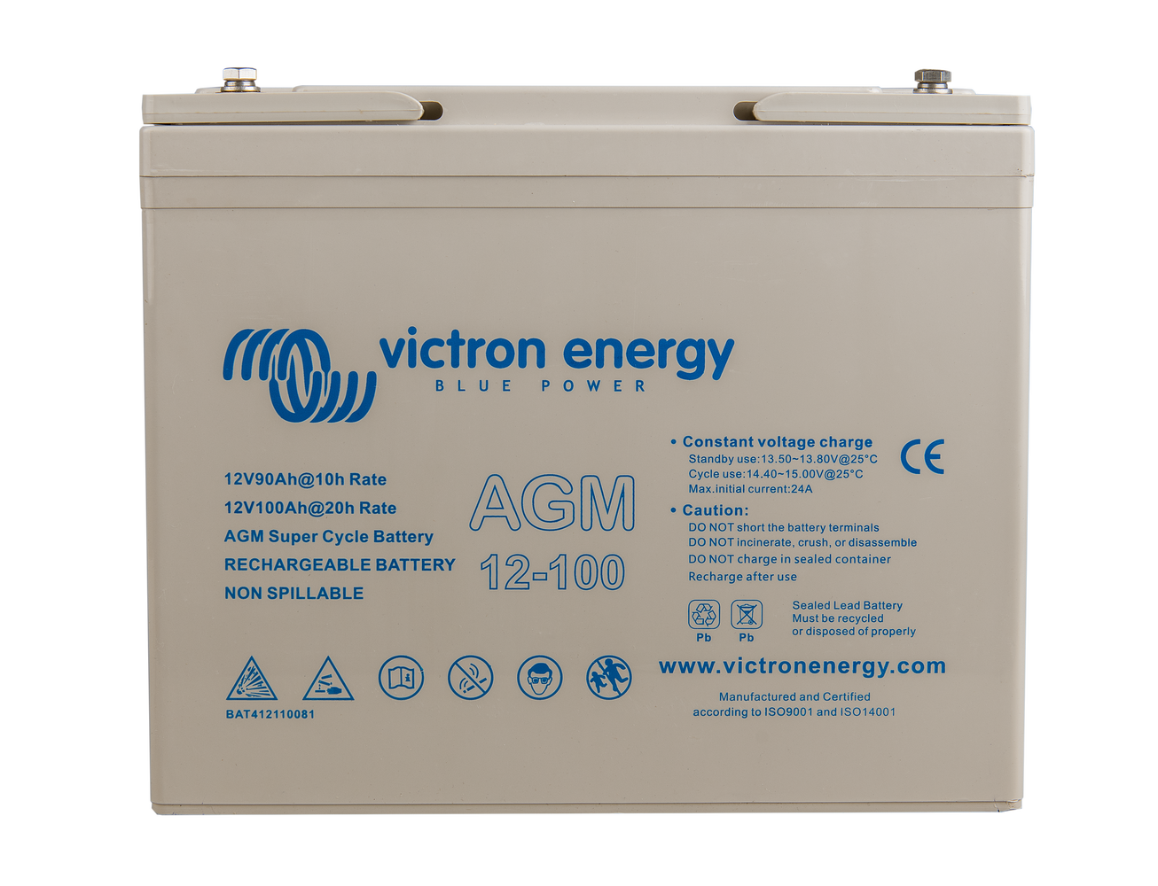12v 100ah agm super cycle battery (front)
